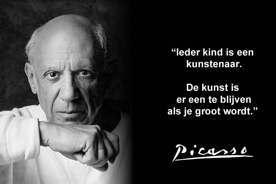 Ieder kind is een kunstenaar. De kunst is er een te blijven als je groot wordt. | Pablo Picasso